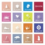 Illustration Set of 16 Season Flat Icon Stock Photo