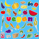 Illustration with set of  simple icons patches on the subject of vegetarianism and vegan inscription on a blue background Royalty Free Stock Photos