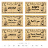 Illustration set spice labels, Africa #2 Stock Photography