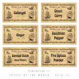 Illustration set spice labels, Asia #2 Royalty Free Stock Photography