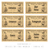 Illustration set spice labels, India #1 Royalty Free Stock Image