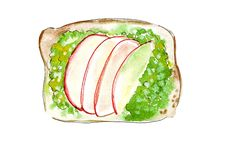 Illustration set of sketching sandwiches with variety of fillings, different composition and  ingredients. Stock Photography