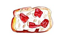 Illustration set of sketching sandwiches with variety of fillings, different composition and  ingredients. Royalty Free Stock Images