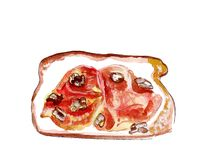 Illustration set of sketching sandwiches with variety of fillings, different composition and  ingredients. Stock Photo