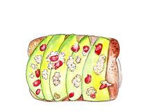 Illustration set of sketching sandwiches with variety of fillings, different composition and  ingredients. Stock Photos