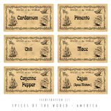 Illustration set spice labels, America Royalty Free Stock Photos