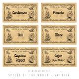 Illustration set spice labels, America Royalty Free Stock Photos
