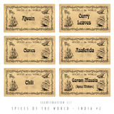 Illustration set spice labels, India #2 Stock Photography