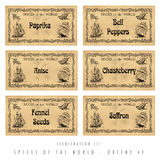 Illustration set spice labels, Orient #1 Stock Photo