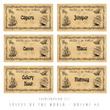 Illustration set spice labels, Orient #2 Stock Image