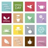 Illustration Set of 16 Spring Season Icon Stock Photos