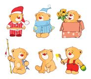Illustration of a set of Stuffed Bears. Cartoon Character Royalty Free Stock Images