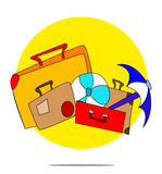 Illustration of a set of suitcases with circle background Stock Image