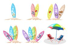 An Illustration Set of Surfboards with Beach Chair Stock Photo