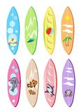 An Illustration Set of Surfboards with Different D Stock Photo