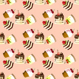 Illustration set of sweets and cakes. Seamless pattern. Royalty Free Stock Photo