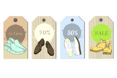 Illustration of Set Tags hand drawn graphic Man and Women Footwear, shoes for store discount. Casual and sport style Stock Images