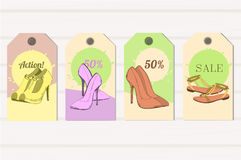 Illustration of Set Tags hand drawn graphic Man and Women Footwear, shoes for store discount. Casual and sport style Stock Photography