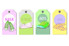 Illustration of Set Tags hand drawn graphic Man and Women Footwear, shoes for store discount. Casual and sport style Royalty Free Stock Photography