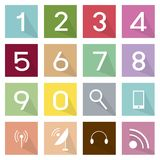 Illustration Set of Telecommunication and Numeric Icons. Illustration Collection of 16 Telecommunication and Numeric Flat Icons Stock Photos