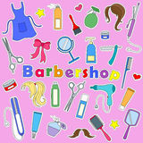 Illustration with Set on a theme Barber shop, tools, and accessories of Barber, colored patches icons on pink background Stock Image