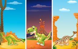 Set of three dinosaurs royalty free illustration