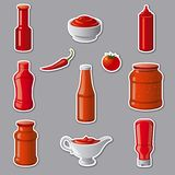 Ketchups and sauces stickers. Illustration of set tomato ketchups and sauces stickers Royalty Free Stock Photo