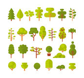 Illustration of a set   trees and shrubs on  white background in  flat style Royalty Free Stock Photography
