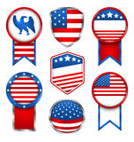 Illustration Set of Various Graphics and Labels, Emblems in Traditional American Colors Stock Photos