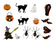 An illustration Set of Various Halloween Item Royalty Free Stock Image