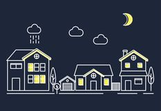 Illustration set of village community town at night Royalty Free Stock Images