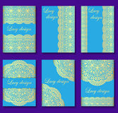 Illustration  set of vintage backgrounds with gold lace Stock Images
