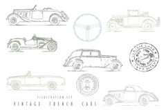 Illustration Set Vintage French cars Royalty Free Stock Photos