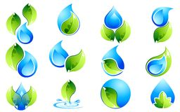 Water and Leaf Icon Set Royalty Free Stock Photos
