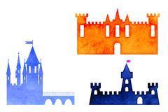 Illustration set of watercolor castle Stock Photography