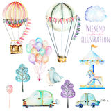 Illustration set with watercolor elements of weekend time and amusement park. Hand drawn isolated on a white background, carousels, aerostats, air balloons and Stock Photography