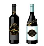 Illustration of set wine bottle with label Royalty Free Stock Photos