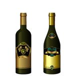 Illustration of set wine bottle with label Stock Images