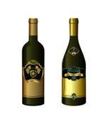 Illustration of set wine bottle with label Stock Images