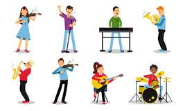 Free Illustration Set With Musicians Playing Different Instruments Isolated On White Backround Stock Photo - 160994310
