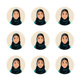 Illustration set of  woman facial expression. Arab girl with cute face. Avatar icon. Muslim people Stock Image