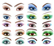 Set of womens eyes with a different makeup Royalty Free Stock Photography