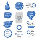 Set of world diabetes day sign with grunge shape Stock Images