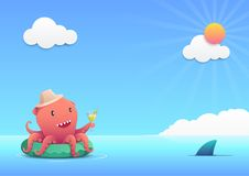 Cute red octopus holding a cocktail summer drink glass on the green inflatable swim ring in the blue ocean, summer holiday concept. An illustration set for your Royalty Free Stock Image