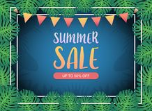 Summer sale background banner, Festival bunting ribbons hanging on double frames border with the green exotic palm leaves.Vector. An illustration set for your Royalty Free Stock Photo