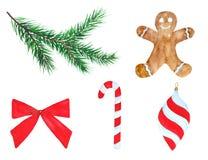 Seth New Year Christmas Tree Cookies Decorations Bow Watercolor. Illustration Seth New Year Christmas Tree Cookies Decorations Bow Watercolor vector illustration