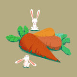 Illustration Sets: The Rabbits and Big Carrots isolated. Royalty Free Stock Photos
