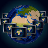 Illustration of several computer monitors over background of globe Royalty Free Stock Image