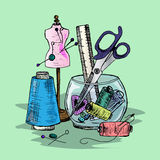 Illustration of Sewing accessories on the desktop. Stock Image