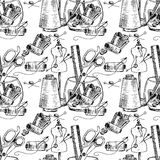 Illustration of Sewing accessories on the desktop. Seamless pattern. Royalty Free Stock Photography